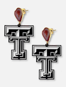 TeamRLN Texas Tech Red Raiders Onyx Double T With 24K Gold Hand-Painted Backing Inset With Red Geodes Post Earrings