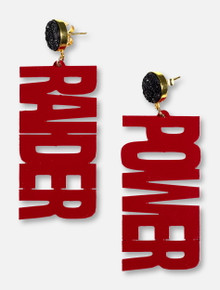 TeamRLN Texas Tech Red Raiders Raider Power On 18K Gold-Plated Setting Black Druzy Post Earrings