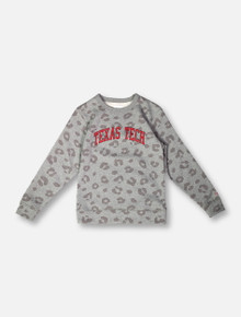 League Texas Tech Red Raiders Classic Arch on Leopard YOUTH Crew Pullover