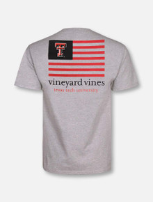 """Vineyard Vines Texas Tech Red Raiders Double T """"American Flag"""" with Tech Colors T-Shirt"""