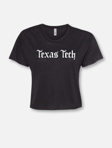 "Texas Tech Red Raiders Old English Font ""Konyay"" Crop Top"