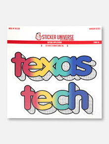 "Texas Tech Red Raiders ""Stacked Rainbow Comic"" Decal"