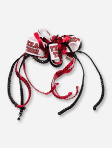 Double T & Texas Tech White Bow with Red & Black Sequin Ribbons