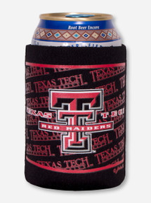 Texas Tech with Double T on Black Can Cooler