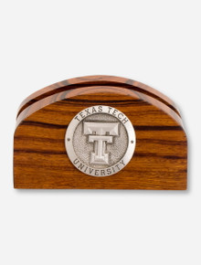 Texas Tech Double T Emblem on Wood Business Card Holder