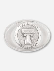 Texas Tech Double T Emblem on Glass Paperweight