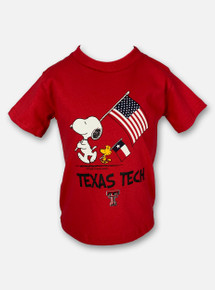 Texas Tech Double T Snoopy Carrying American Flag and Woodstock Carrying Texas Flag YOUTH T-Shirt