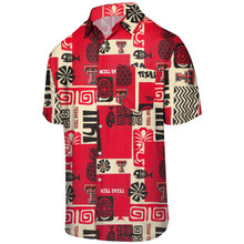 "Texas Tech Double T ""Tiki"" Hawaiian Button Down"