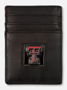 Texas Tech Double T on Black Leather Money Clip