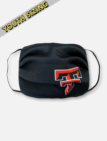 Texas Tech Red Raiders KIDS Face Mask in Black with Full Color Double T