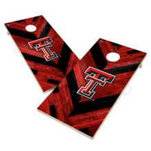 Texas Tech Red Raiders Solid Wood 2x4 Cornhole Board Set- Herringbone Design