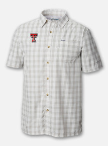 "Front Profile Texas Tech Red Raiders Columbia ""Slack Tide"" Double T Plaid Polo"