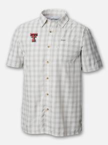 "Front Profile Texas Tech Red Raiders Columbia ""Slack Tide"" Double T Plaid Polo"