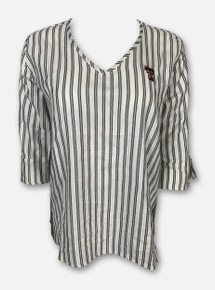 """Texas Tech Red Raiders Women's """"Sweet South"""" Striped V-Neck Blouse"""