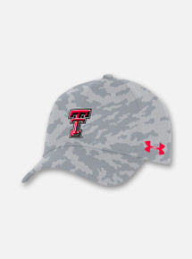 Front View Texas Tech Red Raiders Under Armour Sideline 2020 Camo Stretch Fit Hat