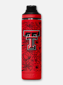 Texas Tech Red Raiders Orca Floral Hydra Metal Water Bottle Front View
