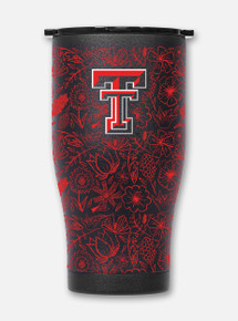 Texas Tech Orca Floral Chaser Double Walled Travel Tumbler Front View
