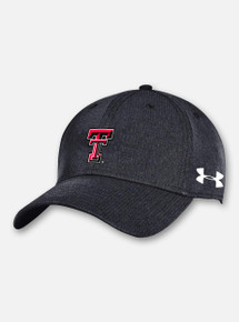 """Front View Texas Tech Red Raiders Under Armour Sideline 2020 """"Airvent Stretch"""" Isochill Hat in Black"""