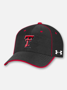 "Front View Texas Tech Red Raiders Under Armour Sideline 2020 ""Blitzing"" Adjustable Hat in Black"