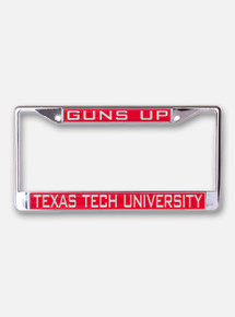 Texas Tech University Guns Up on Red and Chrome License Plate Frame