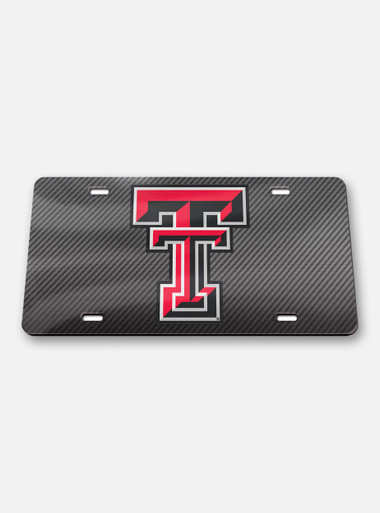 Texas Tech Red Raiders Double T Carbon Acrylic License Plate Cover