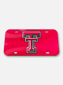 Texas Tech Red Raiders Double T on Red Acrylic License Plate Cover
