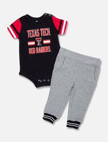 """Arena Texas TechRed Raiders Double T """"Captain Football"""" INFANT Onesie and Pant Set"""