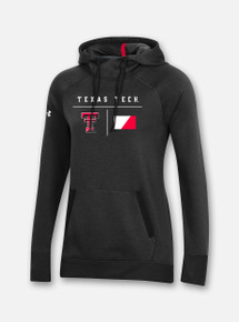 """Front View Texas Tech Red Raiders Under Armour Women's """"Campus"""" Fleece Hood in Black"""