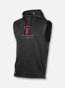 "Front View Texas Tech Red Raiders Under Armour ""Core"" Campus Fleece Sleeveless Hood in Black"