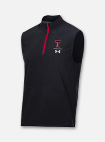 "Front View Texas Tech Red Raiders Under Armour Sideline 2020 ""Squad Coaches"" Sleeveless Quarter Zip"