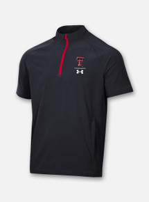 "Front View Texas Tech Red Raiders Under Armour Sideline 2020 ""Squad"" Short Sleeve Coaches Quarter Zip"