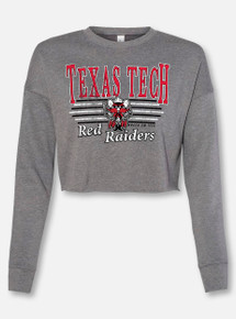 "Texas Tech Raider Red ""Vintage Bar Belle"" Cropped Sweatshirt"