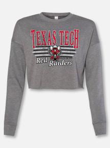 "Texas Tech Raider Red ""Vintage Bar Belle"" Cropped Sweatshirt"