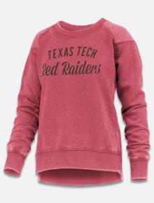 "Pressbox Texas Tech Red Raiders ""Linda"" Hi Low Hem Fleece Shoulder Crew Pullover front view"