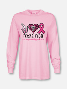 "Texas Tech Red Raiders ""All Heart Pink Power"" Breast Cancer Awareness Long Sleeve T-Shirt Front"