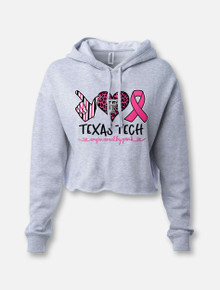 "Texas Tech Red Raiders ""All Heart Pink Power"" Breast Cancer Awareness Cropped Sweatshirt"
