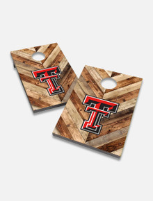 "Texas Tech Red Raiders Solid Wood 2x3 Cornhole Board Set- ""Hardwood Herringbone"""