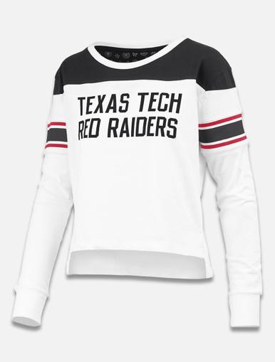 "Pressbox Texas Tech Red Raiders ""Kaia"" Color Block Long Sleeve Crop"