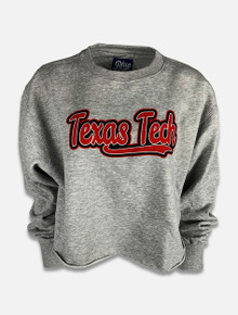 "Blue 84 Texas Tech Red Raiders ""Fintech"" Cropped Raw Edge Sweatshirt"
