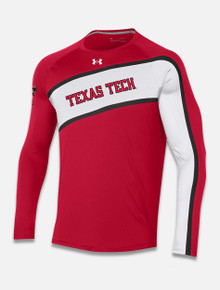 "Under Armour 2021 Basketball ""Shooter"" Long Sleeve Crew T-Shirt in Red front"