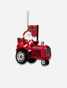 Texas Tech Santa Riding Tractor Ornament