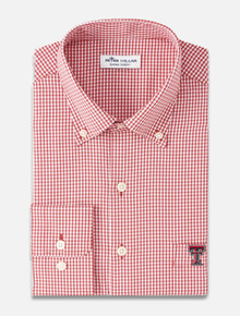 """Peter Millar Texas Tech Red Raiders """"Gingham Stretch Woven"""" Long Sleeve Button Down"""