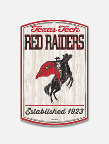 "Texas Tech Red Raiders Vault Rearing Rider ""Established 1923"" Wood Sign"