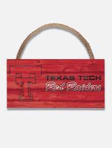 "Texas Tech Throw Back Double T "" Vault with Texas Tech Red Raiders"" Wood Sign"