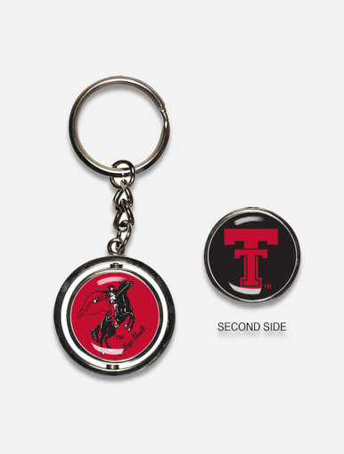 """Texas Tech Red Raiders Vault """" Double Sided Spinner"""" Key Chain"""