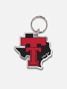 "Texas Tech Red Raiders Vault ""Pride with Throw Back Double T"" Mirrored Key Chain"