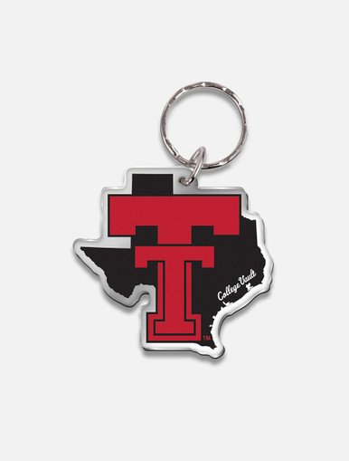 """Texas Tech Red Raiders Vault """"Pride with Throw Back Double T"""" Mirrored Key Chain"""