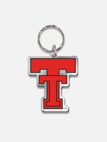 "Texas Tech Red Raiders Vault "" Throw Back Double T"" Mirrored Key Chain"