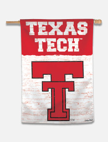 "Texas Tech Red Raiders Vault "" Texas Tech with Throw Back Double T"" Vertical Flag"