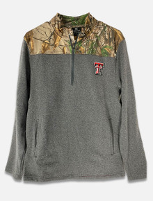 Texas Tech Red Raiders Camo Over Grey with Embroidered Double T Quarter Zip (COFZ10602HC)